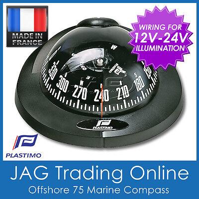 PLASTIMO FLUSH MOUNT OFFSHORE 75 BLACK MARINE/BOAT COMPASS 12V-24V Lighting