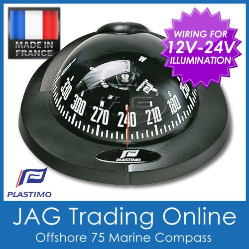 PLASTIMO FLUSH MOUNT OFFSHORE 75 BLACK MARINE//BOAT COMPASS 12V-24V Lighting
