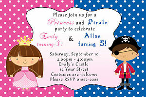 30 birthday party invitation pirate princess costume siblings twins image is loading 30 birthday party invitation pirate princess costume siblings stopboris Image collections