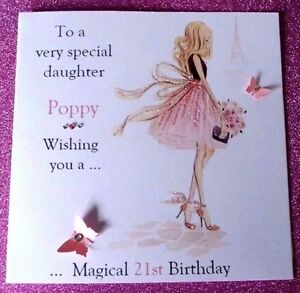 HANDMADE BIRTHDAY CARD PERSONALISED 16TH 21ST 40th DAUGHTER SISTER