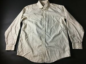 LL-Bean-Mens-White-Plaid-Front-Pocket-Button-Front-Shirt-Size-XL