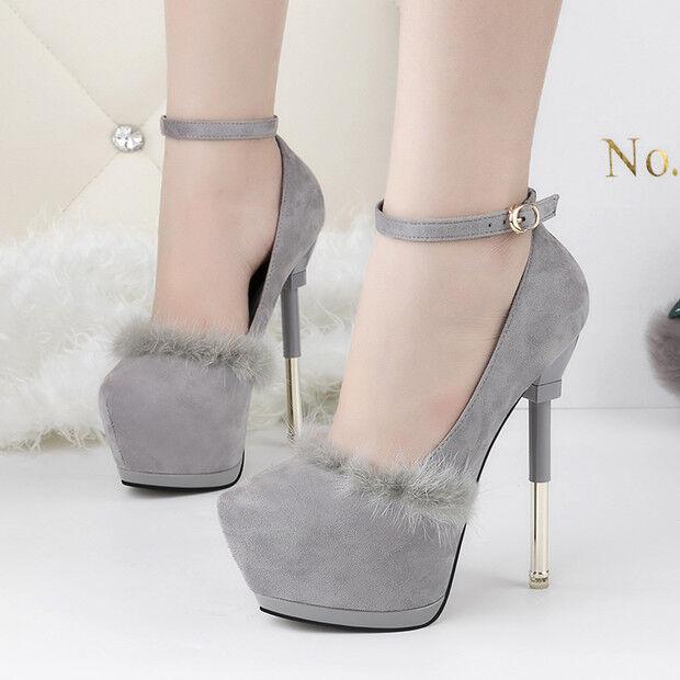 Decolte pelle sintetica invernali 15  stiletto grigio pelliccia  comode 9556