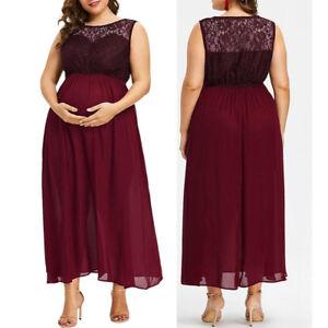 Women-O-Neck-Plus-Size-Pregnant-Maternity-Sleeveless-Nursing-Lace-Chiffon-Dress