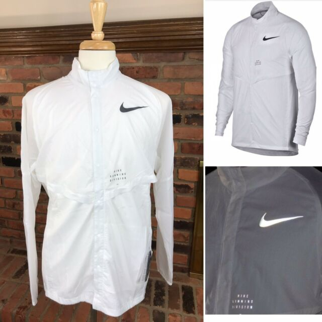e294109a32b4b7 Nike Run Division Running Jacket White With Reflective Trim Packable Mens  Large