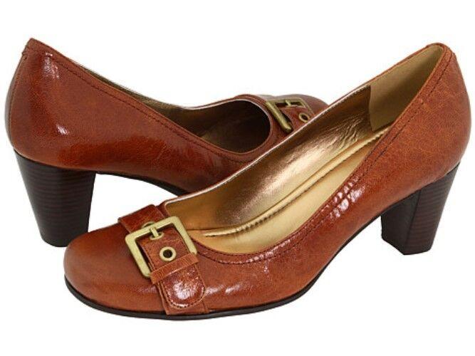 Ecco Hanna Buckle Pump Cognac Brown Heels Shoes Dress 6.5 37 NEW