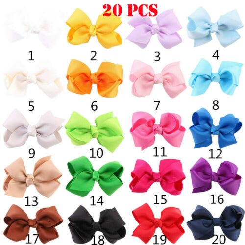 20pc Lot Baby Girls 3.5 Inch Hair Bows Alligator Hair Clips-Baby Girl Sweet Set#