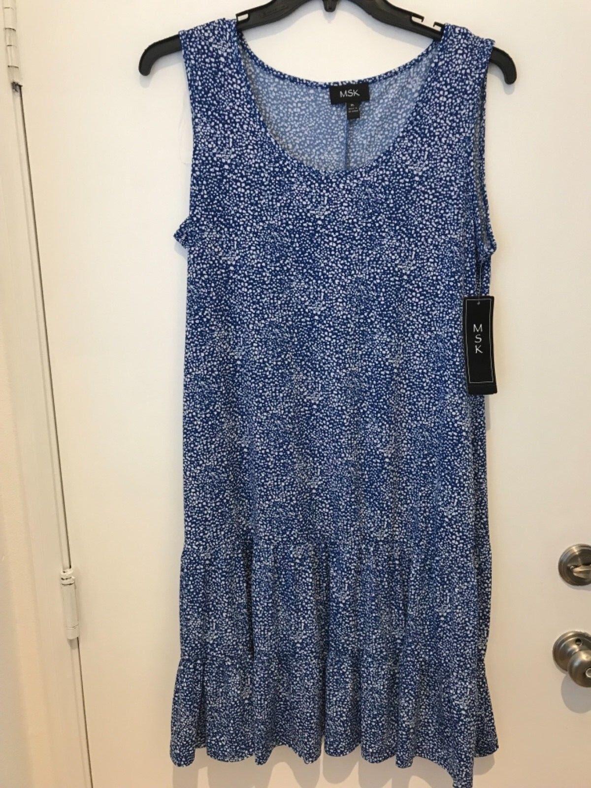 MSK bluee Womens Size XL bluee White ruffle hem Dress NWT
