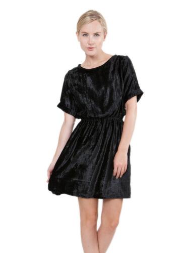 Dress Skater Velvet Short Sleeve Printed Black tHwvqExHI
