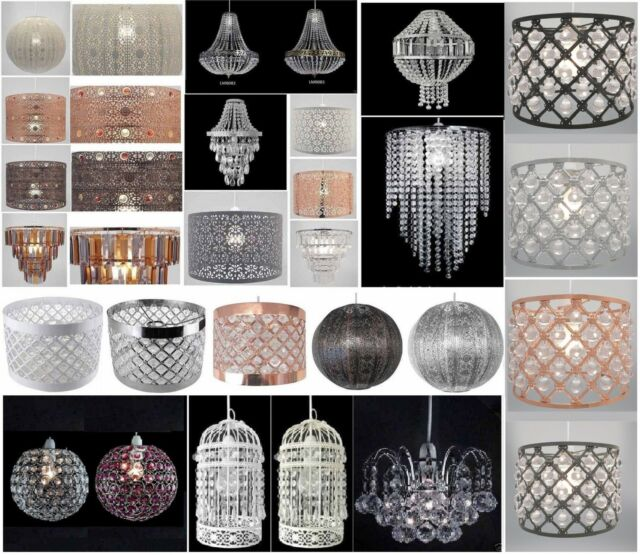 Details about Chandelier Style Modern Ceiling Light Shade Droplet Pendant Acrylic Crystal Bead