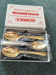 3x Gift Boxed Gold Plated Tea Spoons