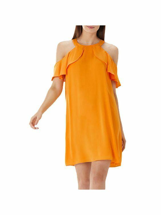 New Coast Claire orange Cold Shoulder Dress Sz RRP