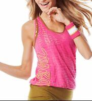 Zumba Wear Fitness Cut Me Loose Bubble Top Racerback Fuchsia /olive