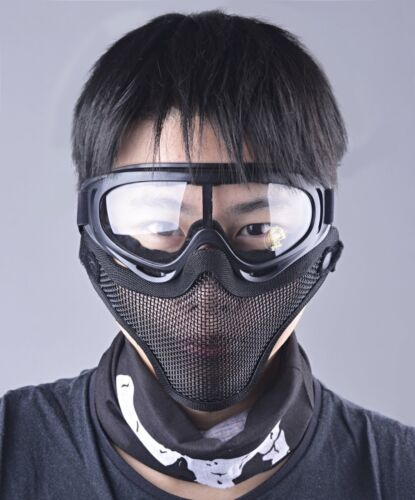 Airsoft Half Face Mask Goggles Set Steel Mesh Tactical Protection Outdoor Black