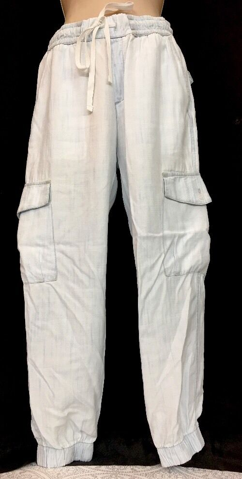 Bella Dahl Pants lumière bleu Drawstbague Waist Elastic Cuff Taille Extra petit