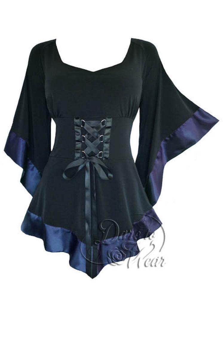 Dare To Wear Victorian Gothic Boho damen Treasure Corset Top schwarz Navy Blau 1X