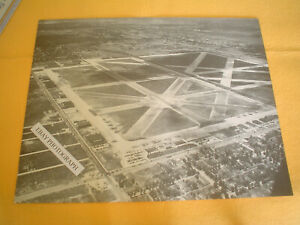 1930-039-S-CHICAGO-039-S-MIDWAY-AIRPORT-AERIAL-PHOTO-WITH-TRAIN-RUNNING-THRU-AIRPORT