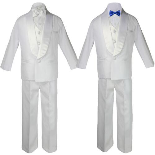 5-7pc Boy White Formal Shawl Lapel Suit Tuxedo Royal Blue Satin Bow Necktie Vest