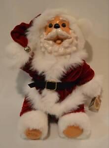 Raikes-Santa-Claus-Kringle-15-034-Teddy-Bear-With-Wood-Face-amp-Feet-Limited-Edition