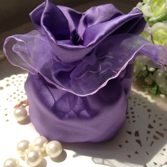 Advanced Purple Satin Organza Wedding Favour Bags Boxes Jewellery Party Gift Bag