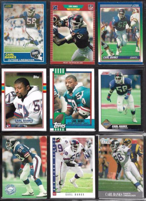 New York Giants Carl Banks 1989-93 Topps Score NFL Pro Set Football Card Lot