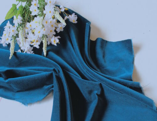 240 gsm 112 cms Bleu Sarcelle Coton Velours Tissu pour la couture