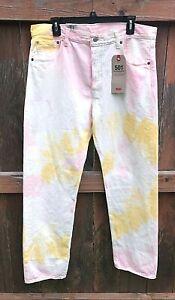 Levis-Mens-Size-38-X-30-Premium-501-93-Straight-Jeans-Tie-Dye-Button-Front