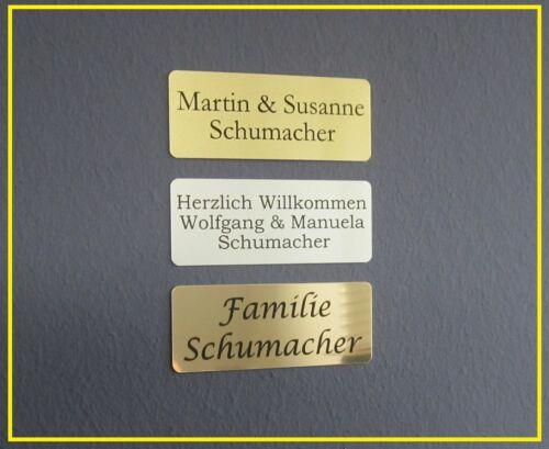 Klingelschild mit Gravur 100x40mm mit Gravur Metall Türschild Namensschild