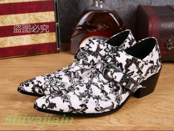 Fashion Youth Mens Flowers Print Pointy Toe Buckle Strap Entertainer Dress shoes