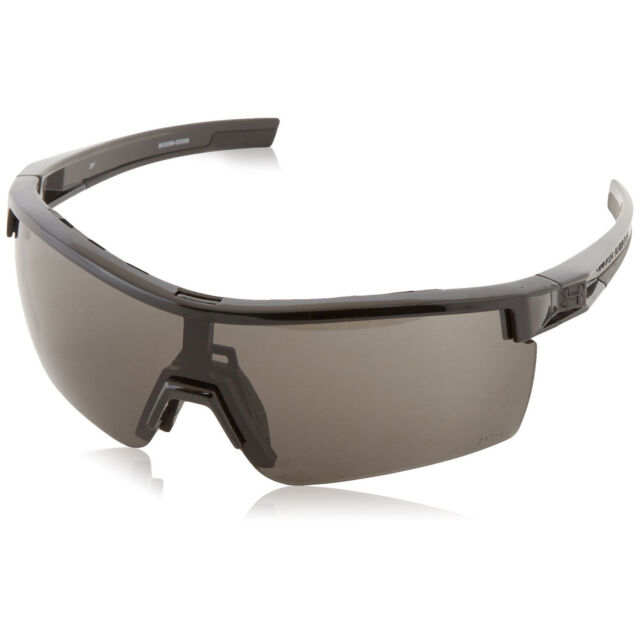 82a6c654861 Under Armour UA Freedom Sunglasses Shiny Black Frame Gray Yellow Clear ANSI  Lens