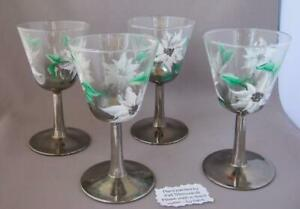 Christmas-Set-of-four-cocktail-glasses-silver-stem-hand-painted-Poinsettias