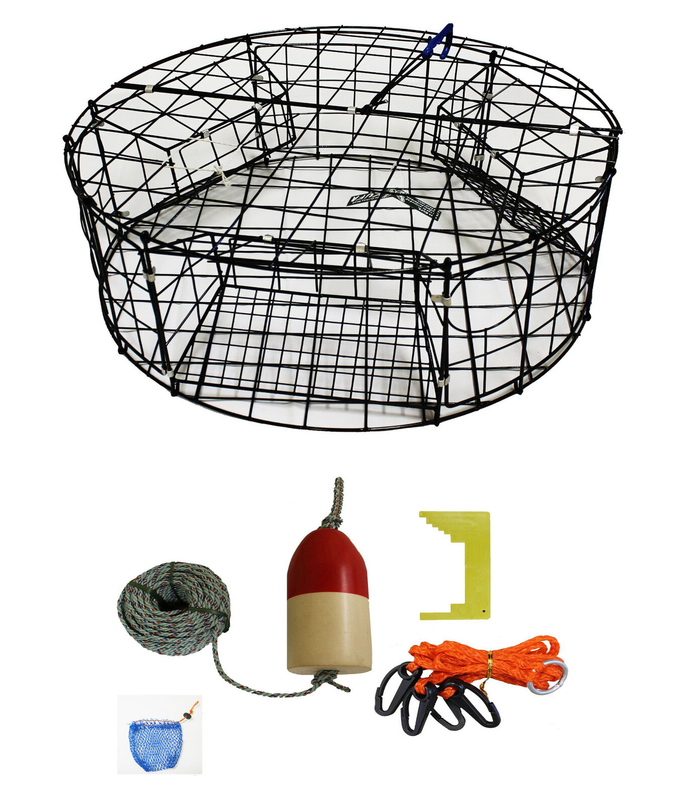 KUFA Vinyl coated Round Crab Trap & leaded rope,float,Harness,Cliper,Crb Bag