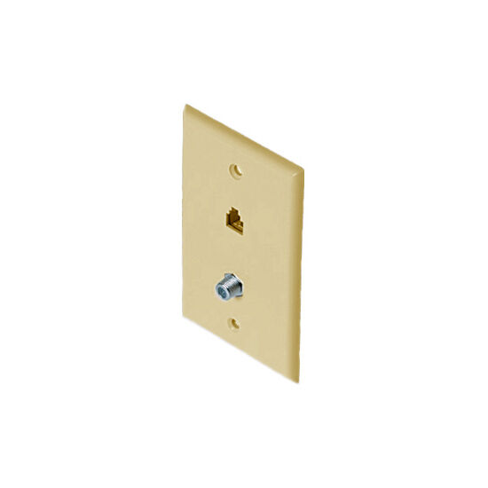 Almond Wall Plate F81 Connector and Phone Jack RJ11 Coaxial Combo RJ-11 Regal