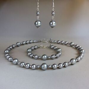 Vintage Light Grey Pearl Necklace Bracelet Earrings Wedding Bridal