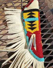 Beaded Knife Sheath Native Cherokee long fringes Brain tan knife case bead work