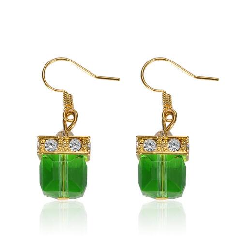 Vintage Green Gemstone Wedding Engagement Earrings Charm Jewelry Women Gift