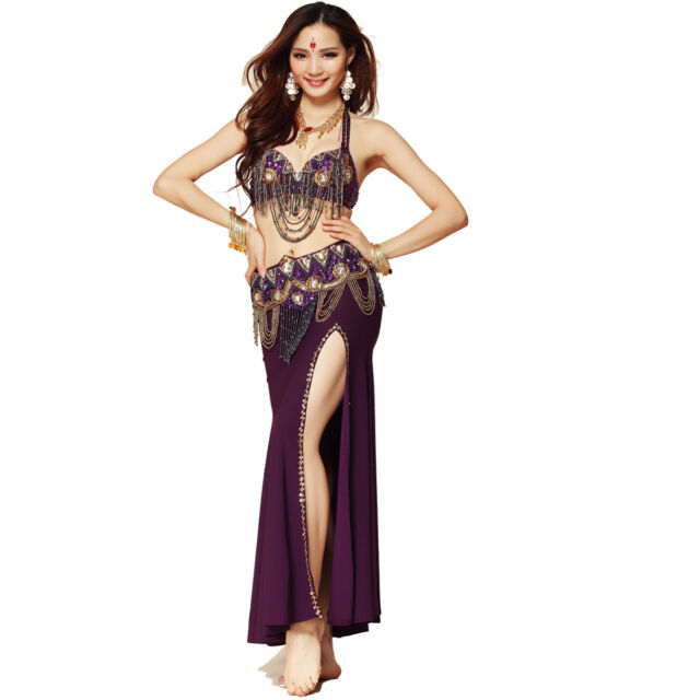 3 pics High Quality New style  Belly Dance Costume Top Bra Belt Skirt 6 colors