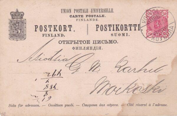 Alerte Finlande 1893 Kouvola à Maikoski? 10 Stylo Prépayé Carte Postale Utilisé Très Bon état Haute RéSilience