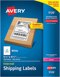 """Laser 5.5/"""" x 8.5/"""" 200 Labels Avery 5126 Shipping Labels 2 Label Per Sheet"""