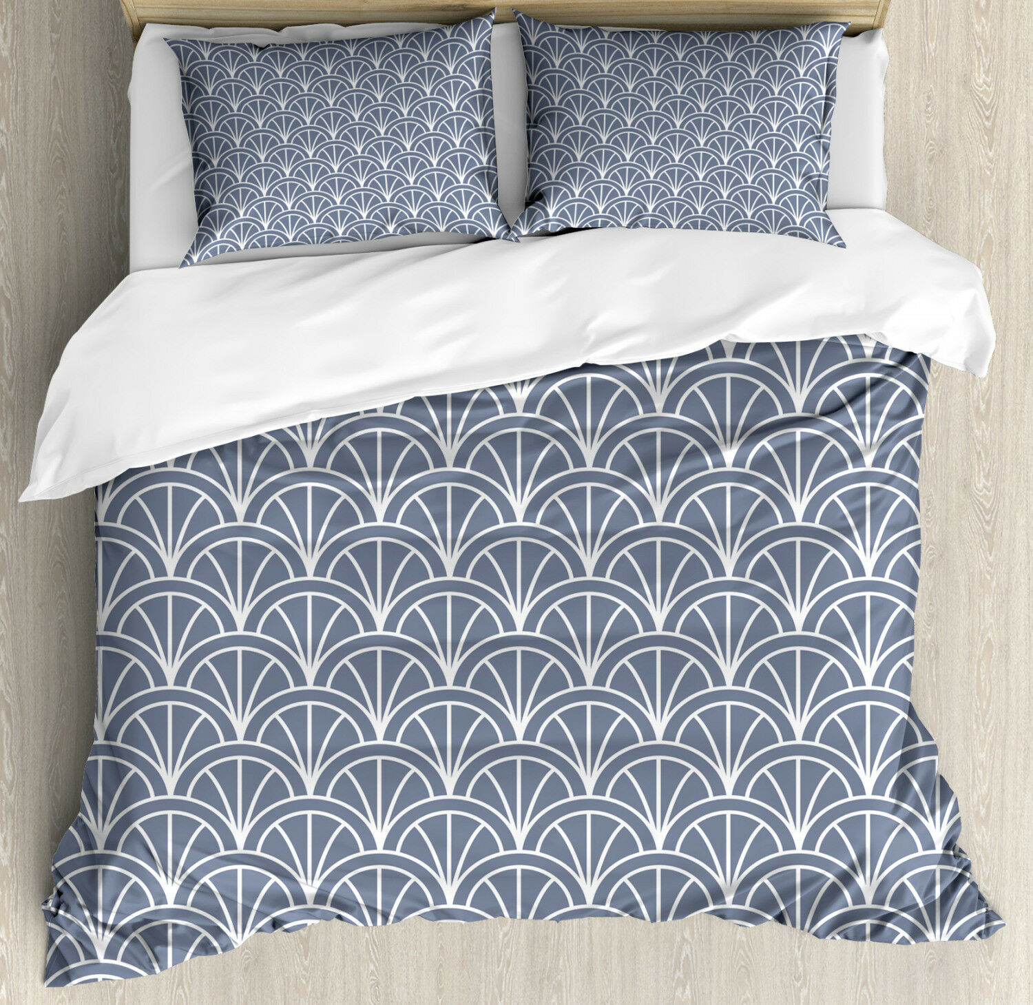 Geometric Duvet Cover Set with Pillow Shams Nautical Wave Pattern Print