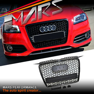 gloss black honeycomb rs style front bumper grille grill. Black Bedroom Furniture Sets. Home Design Ideas