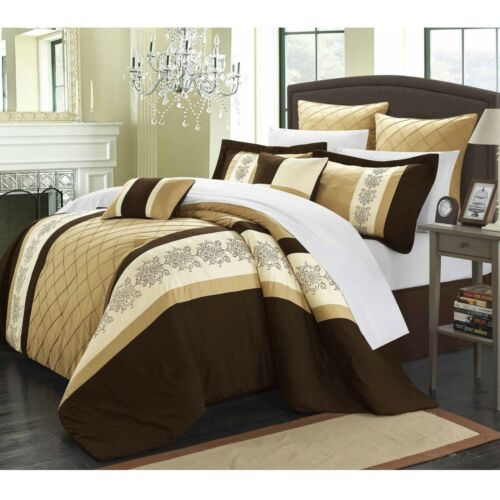 Luxurious Gold Floral Embroidered Comforter sheet 12 pcs King Queen Set