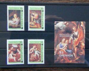 Grenada-1984-450th-anniversario-della-morte-del-Correggio-Set-amp-in-miniatura-foglio-Gomma-integra