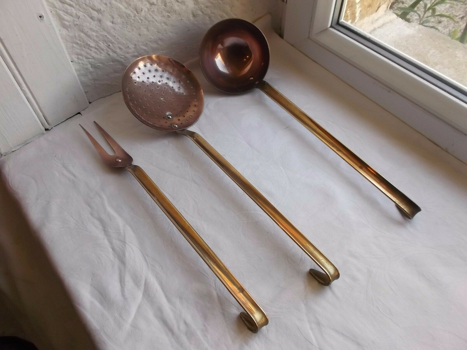 French set of 3 copper utensils brass handle, copper rivets vintage