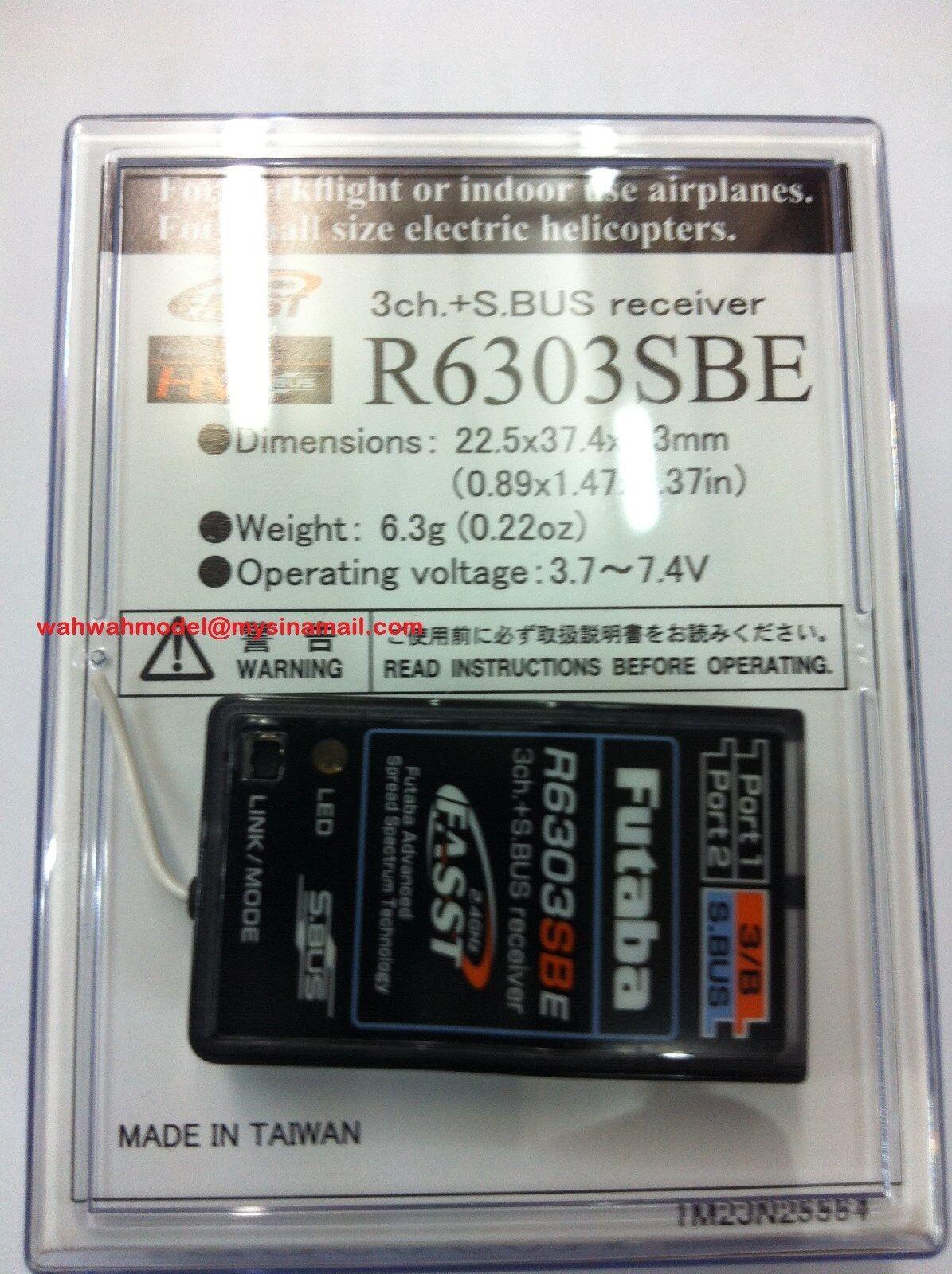 Futaba R6303SBE 2.4G FASST 3 18Ch S. Bus Alta Velocidad Micro RX futl 7662
