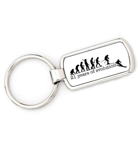 SKI 21st Birthday Mans Evolution APE TO SKIING Key Ring,great gift present