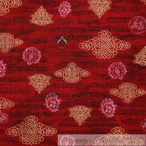 BonEful Fabric FQ Cotton Quilt Maroon Red Black Gold Metallic Music Note Holiday
