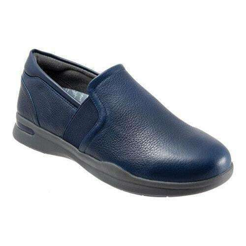 Softwalk VANTAGE Womens Navy Leather 400 Arch Support Slip On Sneaker Shoes