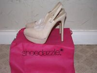 Shoedazzle Gigli Slingback Heels Pumps Natural Women's Size 7.5