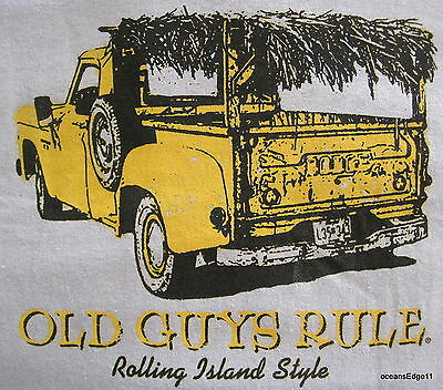 Rolling Island Style,Old Guys Rule,Thatched Pick Up Truck,Tee,Large,Beach Gray
