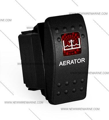 Labeled boat Marine Contura II Rocker Switch Carling lighted Aerator RED lens